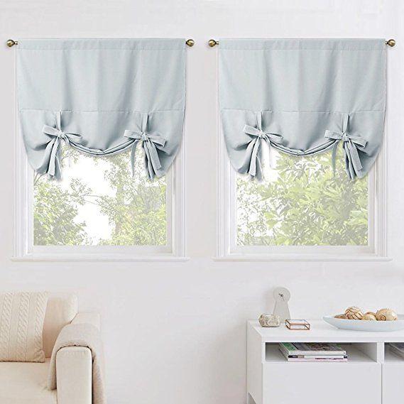Amazon Com Nicetown Blackout Kitchen Window Curtains Thermal Insulated Tie Up Shade For S Bathroom Window Coverings Balloon Shades Valance Window Treatments