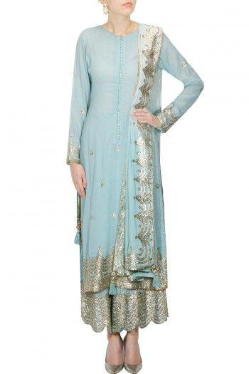 Light Blue Indian Long Shalwar Kameez | Class & Elegant | By Sukriti & Aakriti