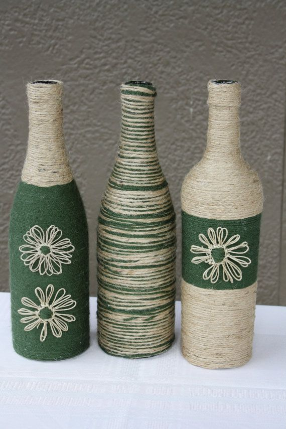 Set of 3 custom wrapped wine bottles jute twine and yarn for Decorative vials