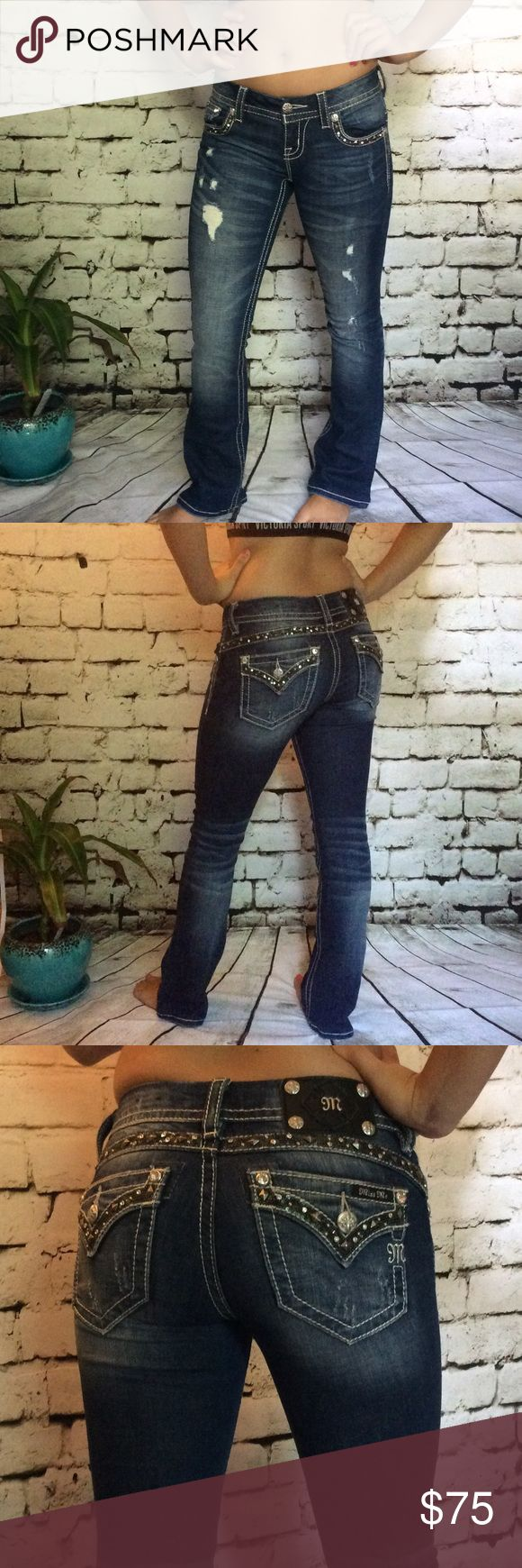 Miss Me Jeans Gorgeous Miss Me jeans are a signature boot cut Jean with a 24 inch waist. These jeans feature white stitching sequins and embellishment metal hardware around the pockets and buttons as well as a distressed style on the front and back. Perfect condition, no flaws. These jeans were bought and hemmed at the buckle store to reflect a 28 inch inseam and 36 inch from waste to floor hem. Fit perfectly for any female that is 5 foot 2 or shorter. Literally worn once Miss Me Jeans Boot…