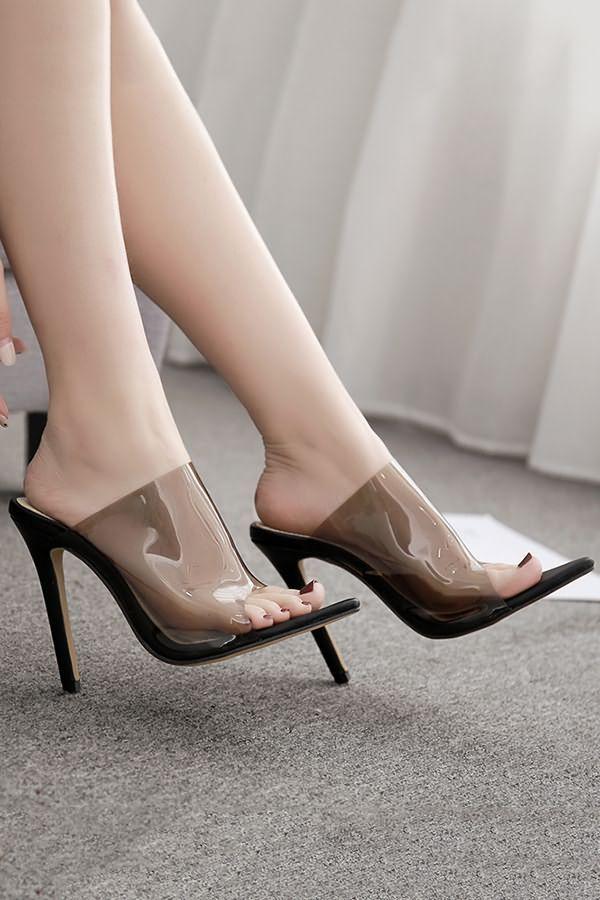 Black Clear Stiletto High Heel Mules