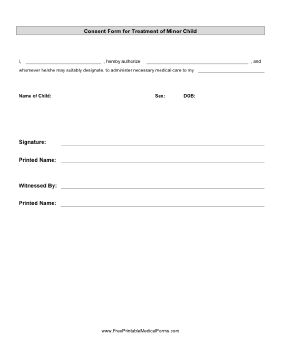 Printable Consent Treatment Minor Child   Parental Consent Form For Medical  Treatment  Child Travel Consent Form Usa