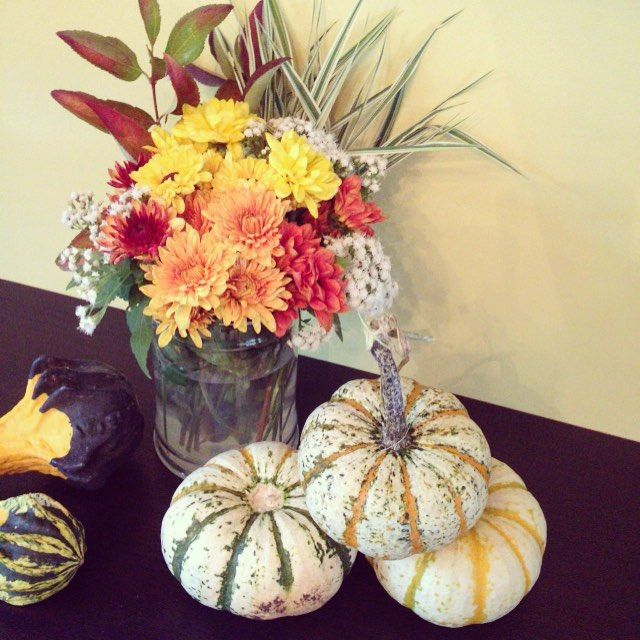 """""""Fall is here... I bought a bunch of pumpkins and squashes today. Looking for good recipes now"""" Yellow and orange mums and some decorative pumpkins. Perfect fall arrangement.  Photo taken by @radiantbeautyclub on Instagram, pinned via the InstaPin iOS App! http://www.instapinapp.com (09/28/2015)"""