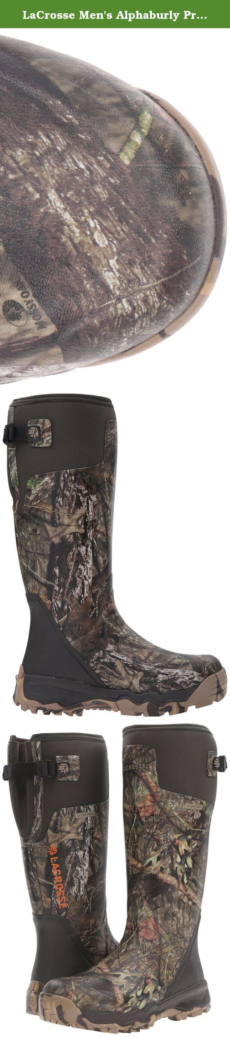 """LaCrosse Men's Alphaburly Pro 18"""" Hunting Shoes, Mossy Oak Break up Country, 11 M US. Built from a proud tradition of innovation, the alphaburly pro is our premium hunting boot. Combining high quality, scent-free rubber with naturally insulating neoprene, the alphaburly pro fears nothing. Not the cold. Not the harsh terrain. Not the challenges of a grueling hunt. It features a thick cushioning eva midsole for added comfort. An embossed liner for better air circulation. And an adjustable…"""