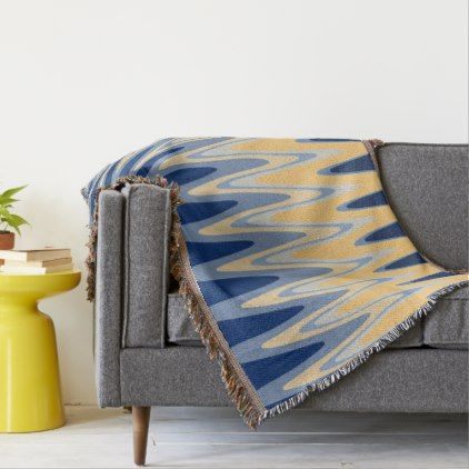 Zig Zag Blue Yellow Gray Beige Pattern Throw - home gifts ideas decor special unique custom individual customized individualized