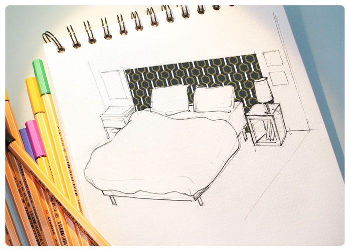 Croquis DIY tête de lit