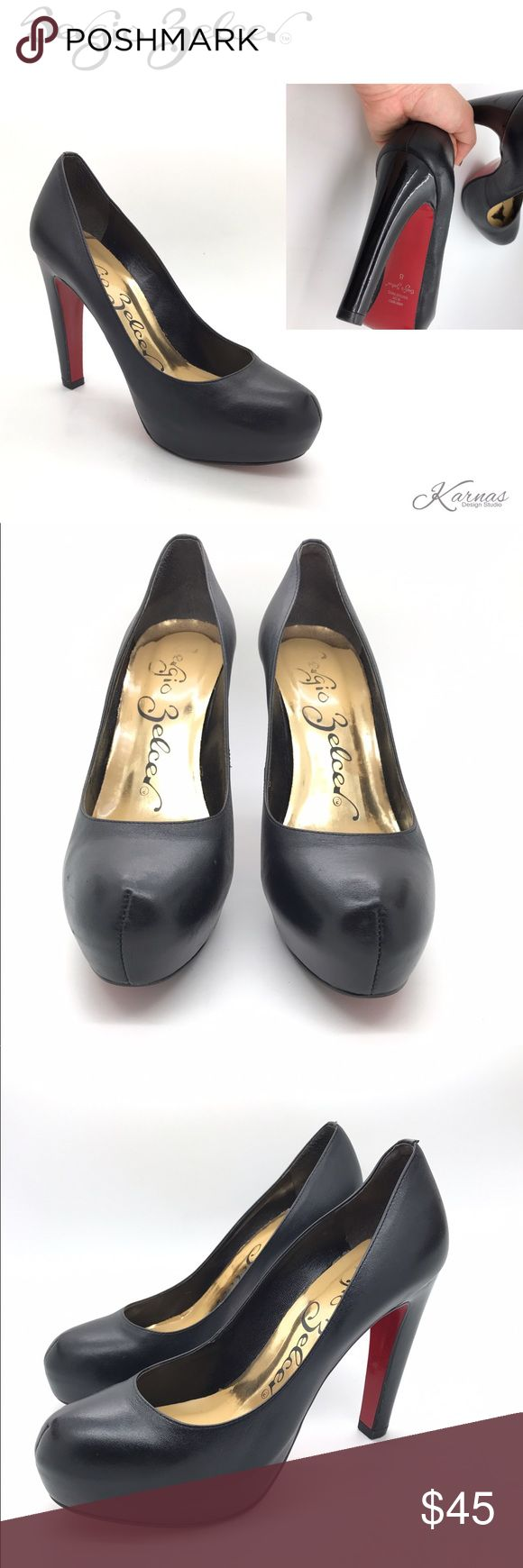 """👠SERGIO ZELCER Black Leather Heels Red Bottoms 8 Beautiful condition. Black leather upper with patent leather heels. Size 8 by Sergio Zelcer. I stored these in a plastic shoe box, no mfg. box is included. Small light scuff on one heel but got pics of all angles for you! I no longer wear this type of heel. About a 4.75"""" heel & a 1.25"""" platform. Please ask any questions before purchase. I offer 10% on bundles and ship daily! Happy Poshing! Sergio Zelcer Shoes Heels"""