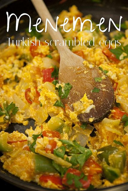 Menemen - Turkish scrambled eggs with peppers and tomato.