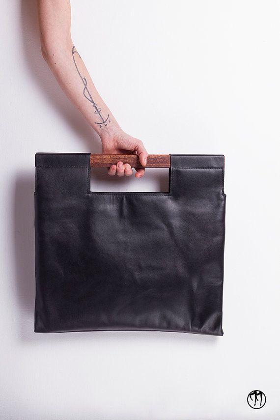 LESS is BAG Black BIG Deep black leather handbag by maisondressage