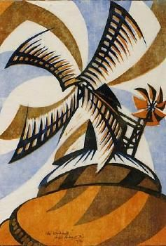 Sybil Andrews / The Wind-Mill / colour linocut / 1933