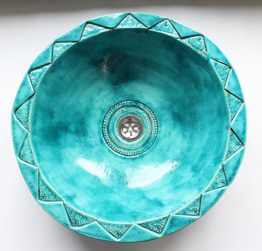 This Moroccan turquoise sink by Clay Opera is perfect for a copper and turquoise western bathroom.