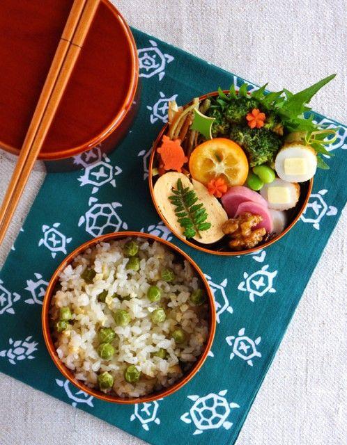 Cooked green peas rice bento/豆ごはん弁当
