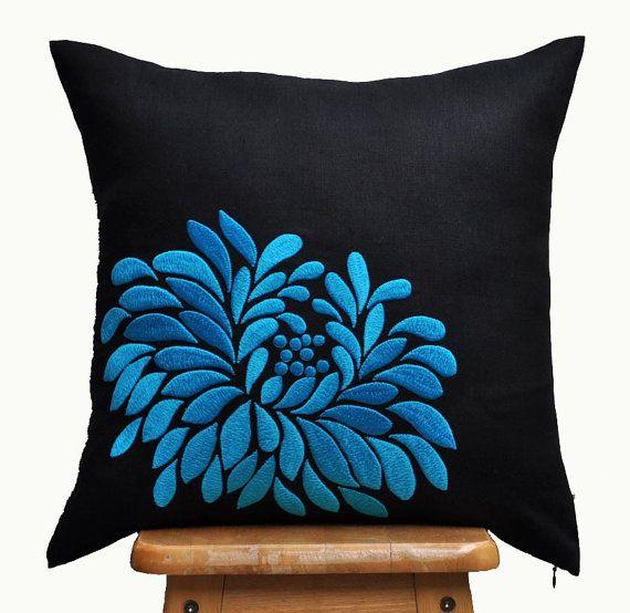 Funda de almohada azul decorativo de la almohadilla cubierta