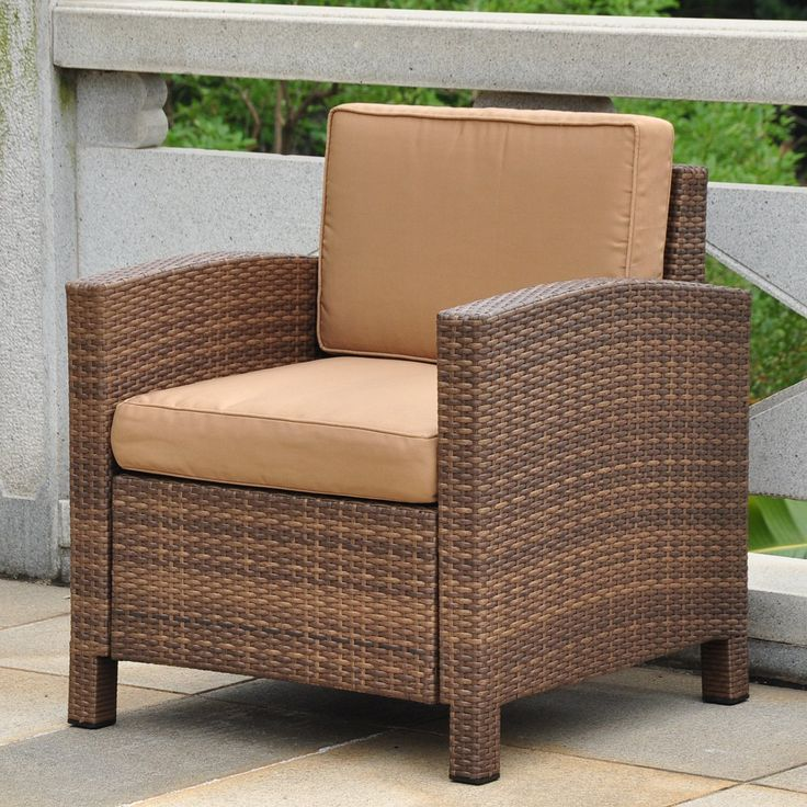 International Caravan Barcelona All-Weather Wicker Contemporary Patio Lounge Chair with Cushions | from hayneedle.com