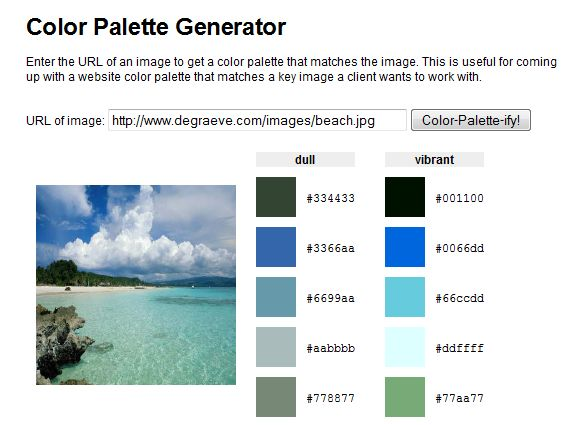 Links and descriptions for 5 color palette generators - select your palette easily from photos