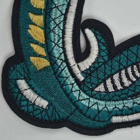 Fierce Cobra Embroidery Patch,Snake Embroidery Patch on Clothes,Snake Applique