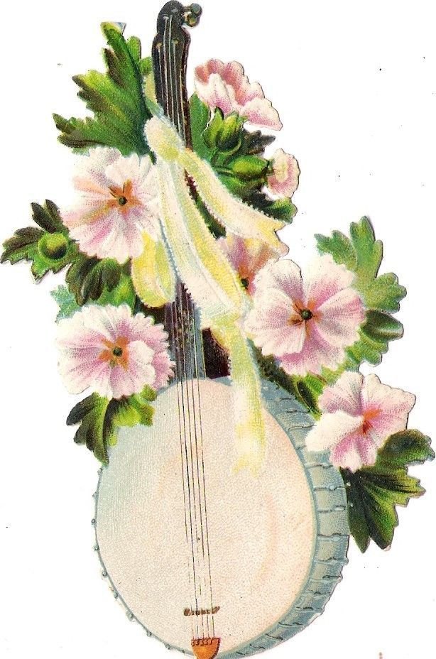 Oblaten Glanzbild scrap die cut  chromo Musik Instrument  music  Blume flower