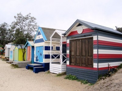 Colorful Boat Sheds/Bath Houses of Mills Beach, Mornington Peninsula - Melbourne Australia.