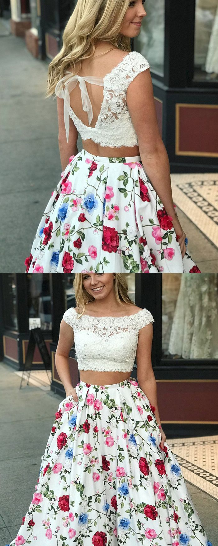 Two Piece Off The Shoulder Lace Bodice Floral Print Prom Dress With Pockets Pm1395 Prom Dresses With Pockets Floral Prom Dresses Floral Prom Dress Long [ 1750 x 700 Pixel ]