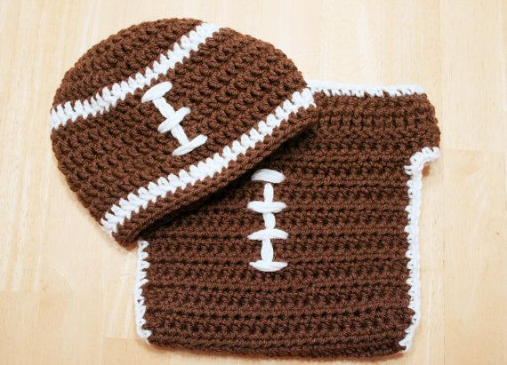 Baby Football Outfit crochet football hat and by JandEdoodles