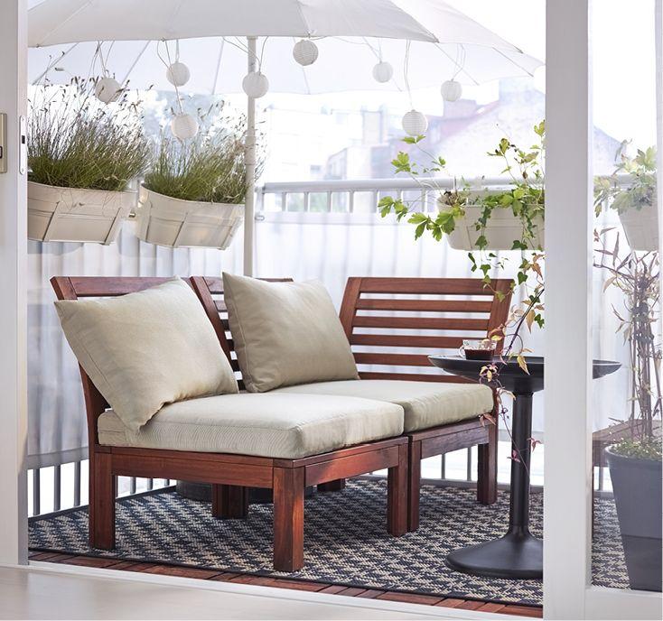 ÄPPLARÖ / HÅLLÖ 戶外雙人座沙發, 棕色, 米色