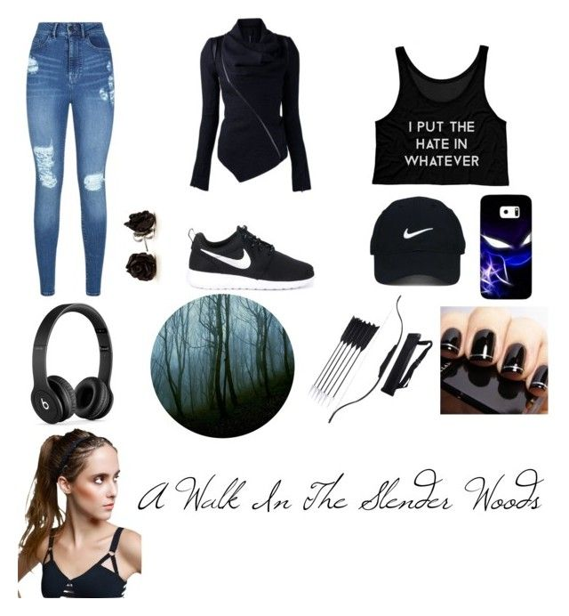 """""""A Walk In The Slender Woods"""" by nightmare-2016 ❤ liked on Polyvore featuring Lipsy, NIKE, Nike Golf, Samsung and Beats by Dr. Dre"""