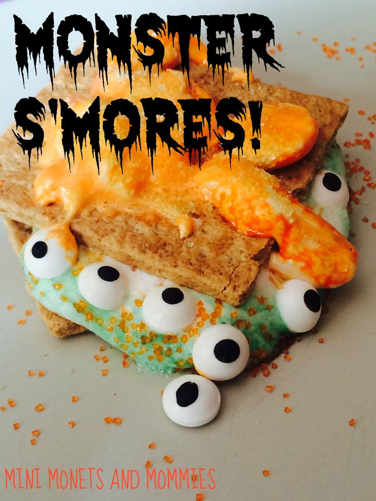 Monster s'mores kid-friendly recipe for Halloween. These easy fall treats are fun for a party or any day.