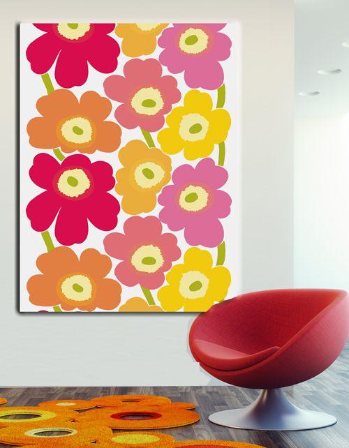 Marimekko stretch fabric wall art