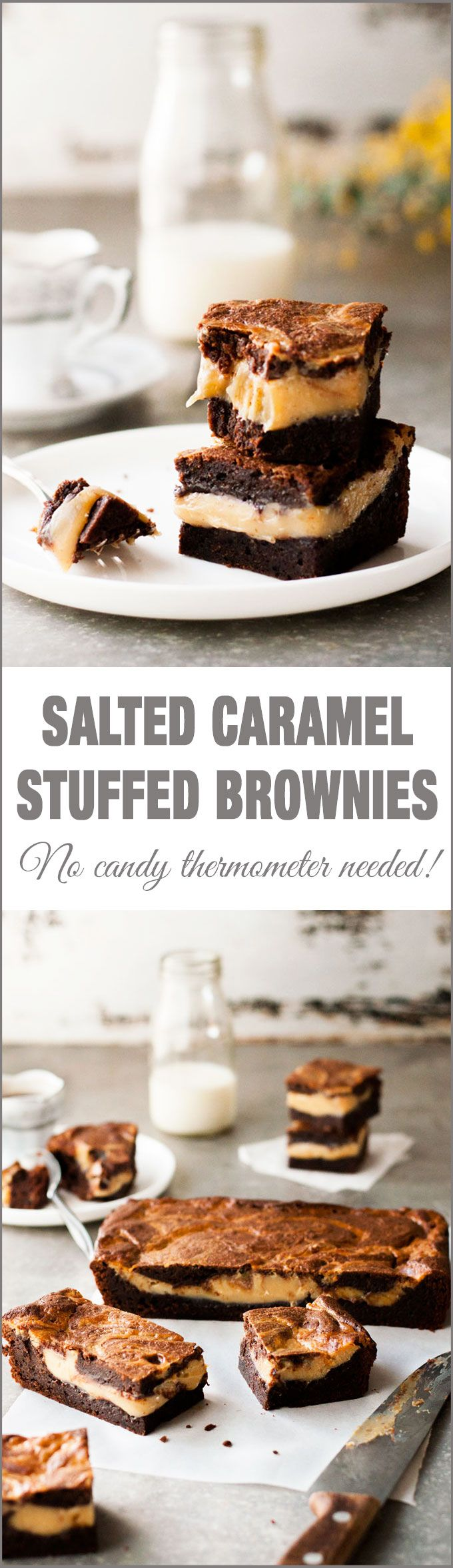 Salted Caramel Stuffed Brownies - moist brownie with a layer of soft set salted caramel made from scratch (no candy thermometer required, easy to make!)