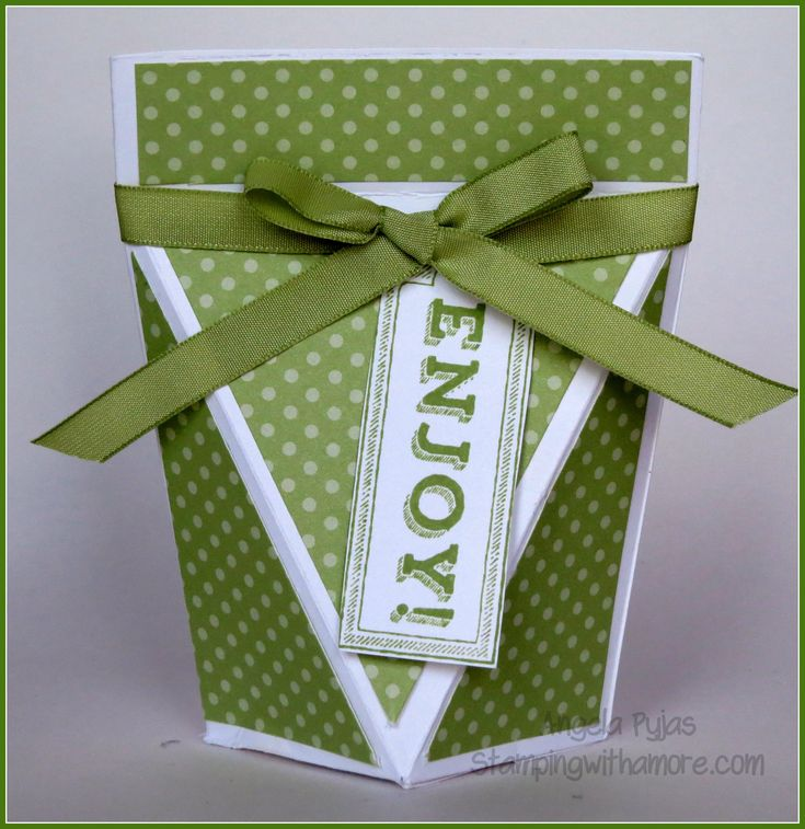 Angela Pyjas, Independent Stampin'Up Demonstrator I Love this Box. This ia a V-Shaped Front Box with self opening top. I believe the original designer was Tu...