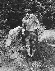 Владимир Набоков с сачком охотится за бабочками. На этих снимках ему 66 лет.