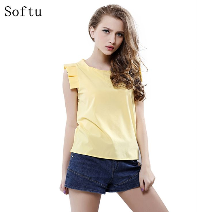 Price-4$       Softu Fashion Women Summer Blouse O-Neck Butterfly Sleeve Solid Shirt  Elegant Leisure Chiffon Blouses