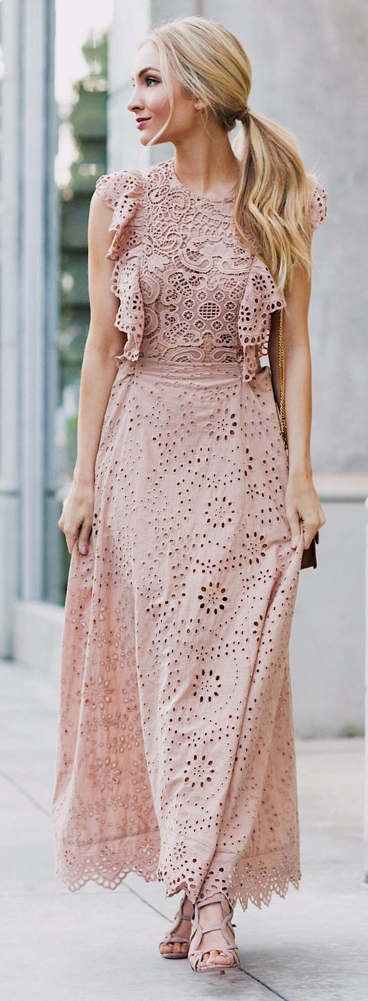 Pink Lace Dress & Nude Sandals