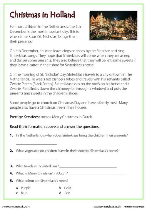 PrimaryLeap.co.uk - Reading comprehension - Christmas in Holland Worksheet