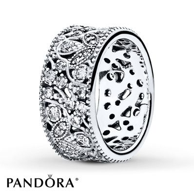 Shimmering leaves depicted with clear cubic zirconia centers and granulated and smooth swirls encircle this lovely sterling silver ring from the PANDORA Autumn 2015 collection. Additional sizes may be available through special order at your nearest Jared location. Style # 190965CZ-54.