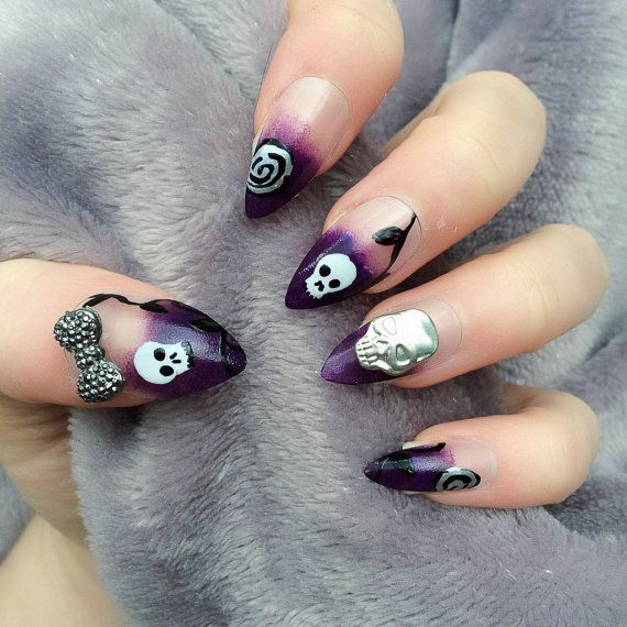 1040 best nails images on pinterest acrylic nails acrylics and doobys stiletto nails gothic love 24 hand painted nails skeleton skull purple gothic nails prinsesfo Image collections