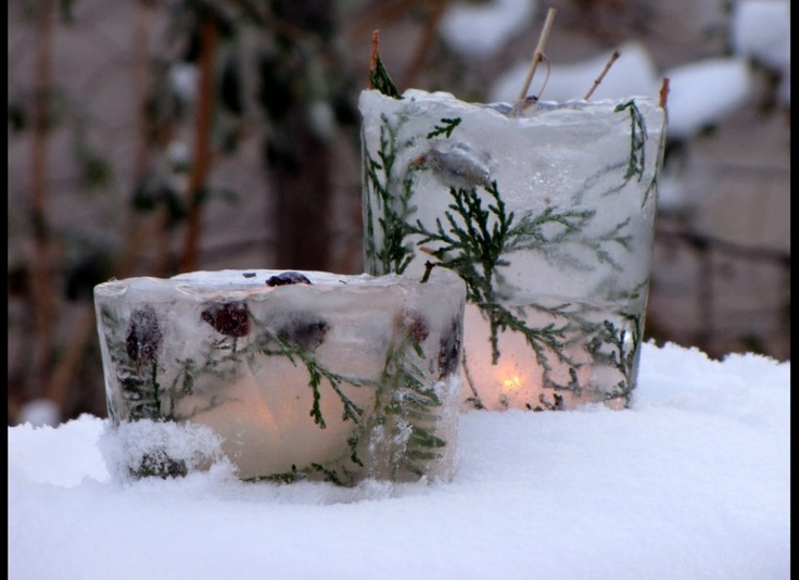 Winter votives made of ice