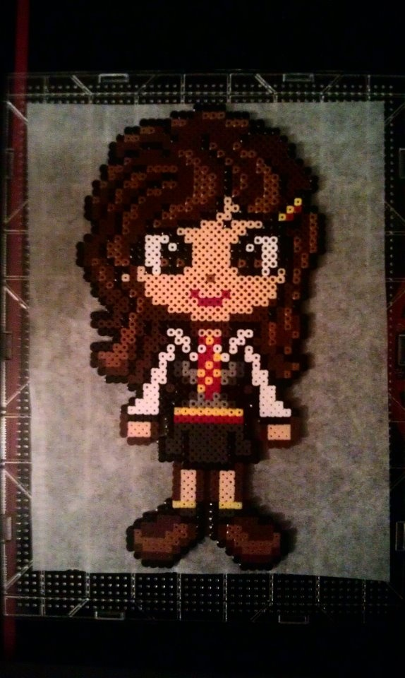 Perler bead Hermione Granger Harry Potter made by my daughter <3 -  by Claudia Rocha