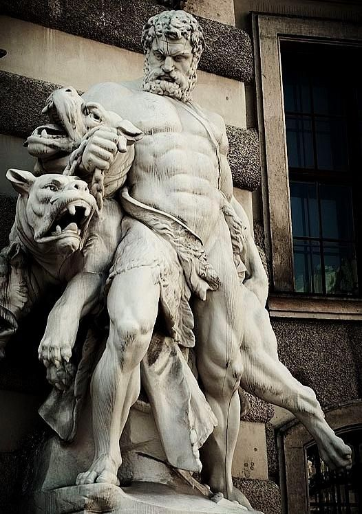 Hercules and Cerberus.- Antonin Pavel Wagner. The 12th Labor of Hercules was the capture of Cerberus, guardian of Hades -Hofburg palace. Vienna. Austria