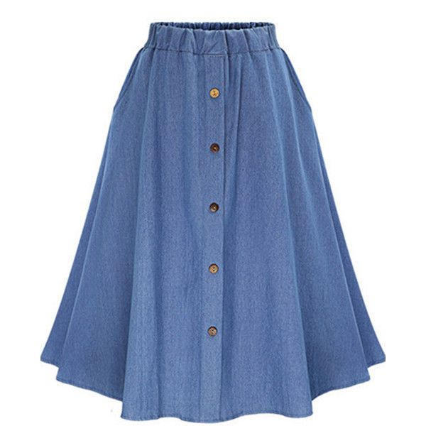 Blue Solid Color Button Up Elastic Waist Retro Midi Skirt (110 RON) ❤ liked on Polyvore featuring skirts, blue, blue a line skirt, elastic waistband skirt, mid calf skirts, knee length a line skirt and button down skirt