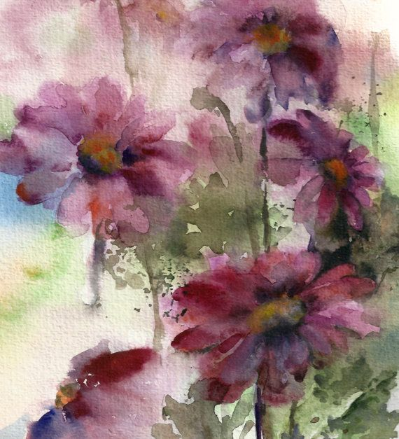 Purple floral painting watercolor painting of flowers