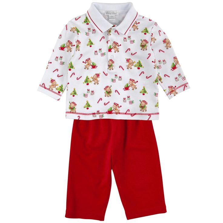Рубашка-поло из джерси (хлопок пима) и однотонные брюки красного цвета - 94147