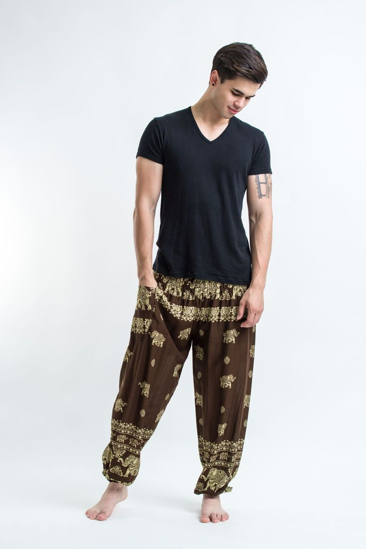 """Amazingly soft Elephant Raja Men's Harem Pants.Cotton/Rayon Blend. Free International Shipping on Orders over $60 at HaremPants.com Sizing: One size fits most. Approx. Measurements: Waist: 24"""" to 38"""""""