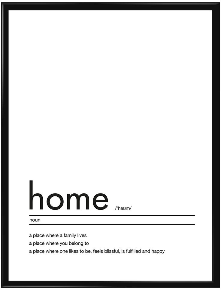 """Texttavla med en förklaring av ordet """"Home"""". Passar bra i vardagsrummet, hallen…"""