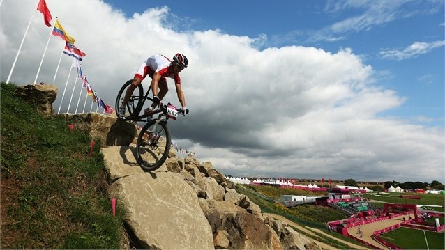 A rider from Poland is seen in action during a Mountain Bike training session at Hadleigh Farm.