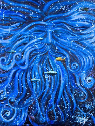 Tipo de Obra: pintura em acrílica sobre painel / Autor: Carlinhos Müller / Ano: 2015 / Série: Submerso / Título: Netuno / Descrição: Rei dos mares protegendo todas as criaturas do mundo submerso. / Tiragem: 50