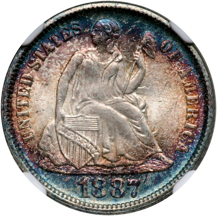 1887 Liberty Seated Dime. NGC MS68 Lovely blue and gold obverse toning. A frosty gem. An immaculate, blazing Gem, the surfaces bursting with vivid toning and all underpinned by satiny white originality over both sides. In addition the predominant blue and gold, we see lovely shades including purple and magenta. A very appealing specimen whose luster is all original, the toning out of this world. In winding this up, we are pleased to see also a strike faithful to every detail from a full blow…