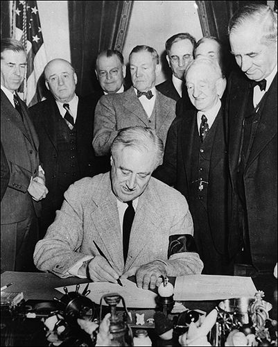 "President Franklin D. Roosevelt signs a declaration of war in 1941. ""War Time,"" a variation on daylight-saving time, followed. Again the idea was to save fuel. (History By Zim)"