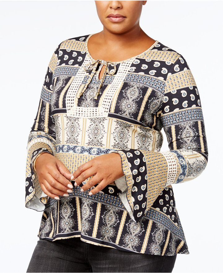 c8b93ca17ddbd Style Co. Style   Co Plus Size Patchwork-Print Peasant Top