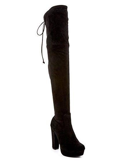 BLACK OVER THE KNEE BOOTS 7.5 Platform CATHERINE MALANDRINO ENRIQUIA OTK Shoes #CatherineMalandrino #OverKneeBoots #Any
